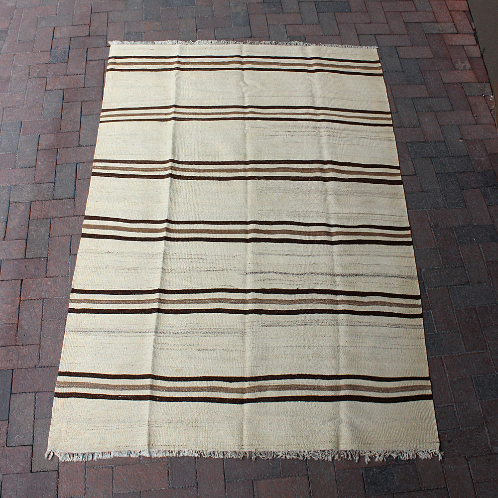 ".Brown Handwoven Turkish Rug - 4' 10"" x 7' 2"""