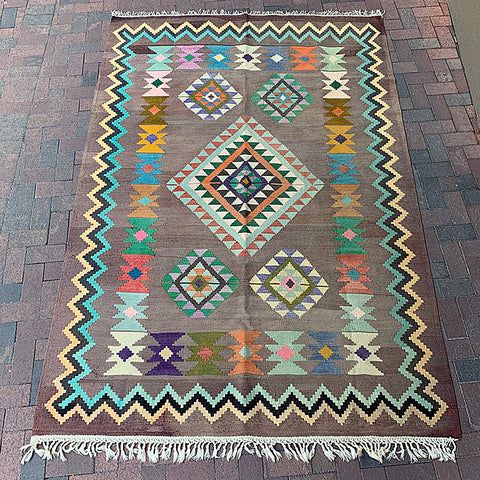 "Multi Colored Handwoven Turkish Rug - 6' 1"" x 9'"
