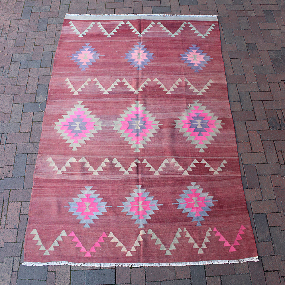 "Multi Colored Handwoven Turkish Rug - 5' 4"" x 8' 1"""