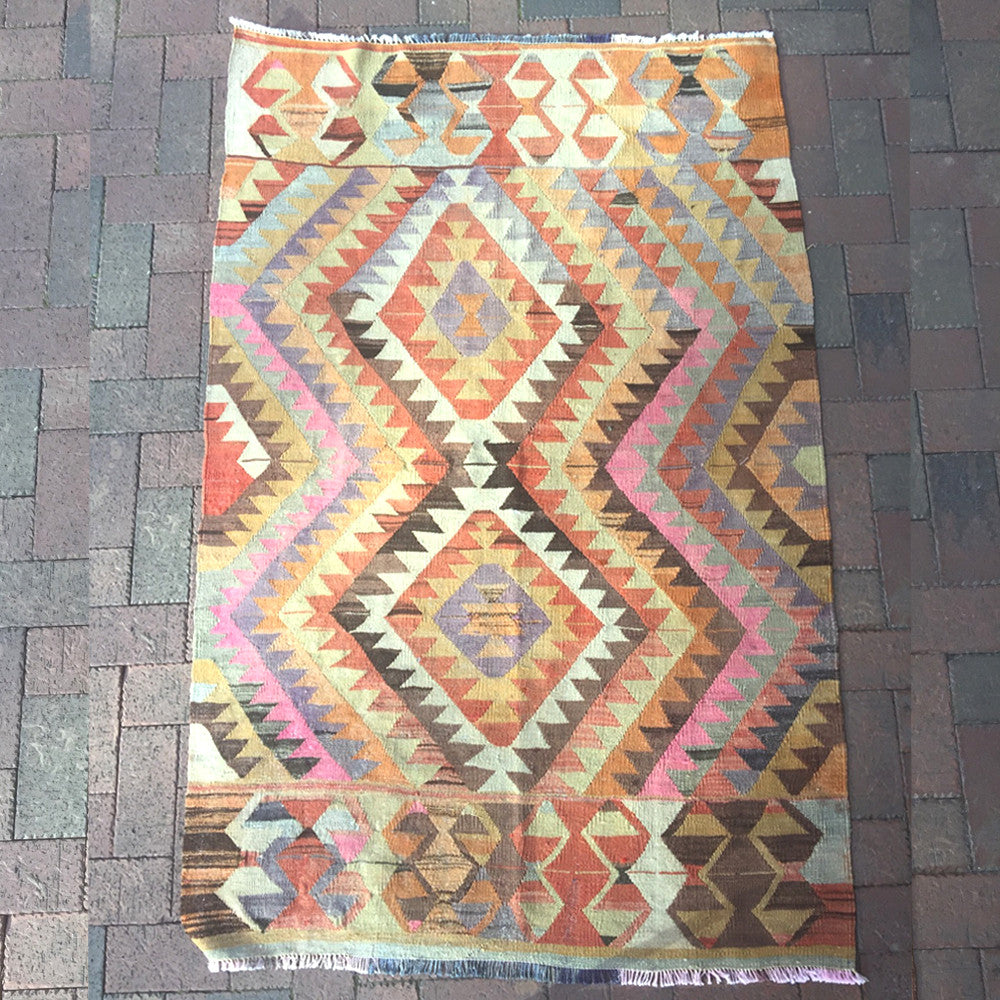 "Vintage Turkish Kilim - 49"" x 73"""