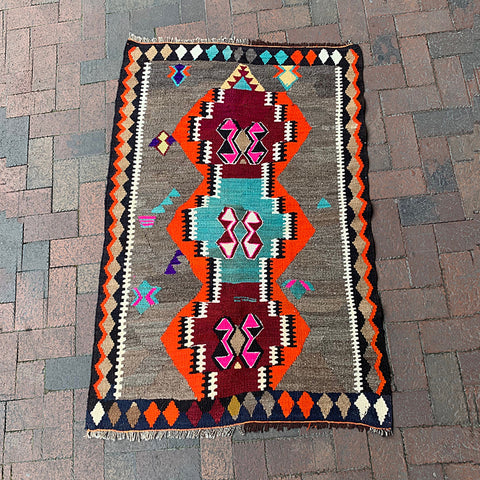 ".Multi Colored Handwoven Turkish Rug - 3' 1"" x 4' 8"""