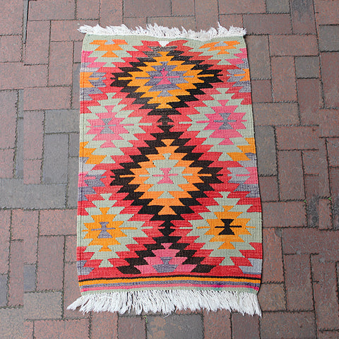 ".Small Handwoven Turkish Rug - 2' 3"" x 3' 5"""