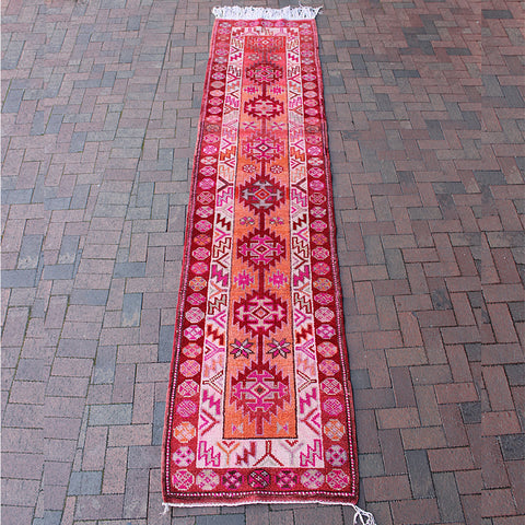 "Multi Colored Handwoven Turkish Runner - 2' 10"" x 12' 6"""
