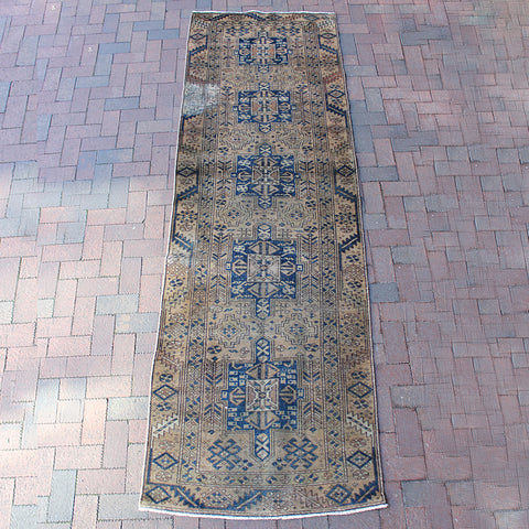 ".Multi Colored Handwoven Turkish Runner - 3' 1"" x 10' 1"""