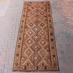 Brown Handwoven Turkish Rug - 4' x 10' 5""
