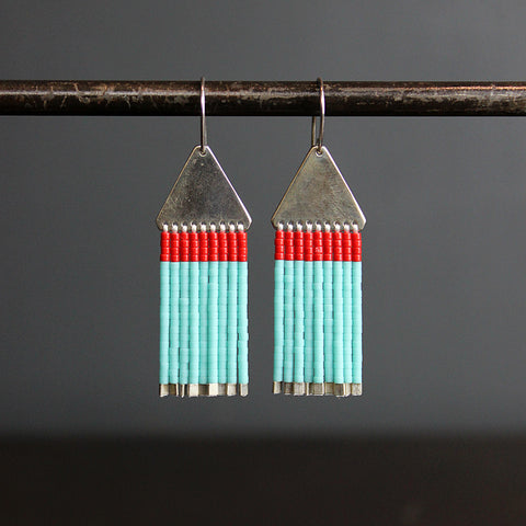 .Turquoise + Red Hand Beaded Earrings