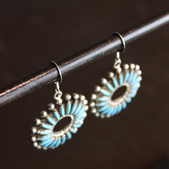 Blue Turquoise + Stering Silver Earrings