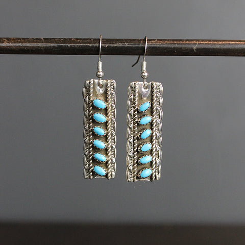 .Blue Turquoise + Stering Silver Earrings