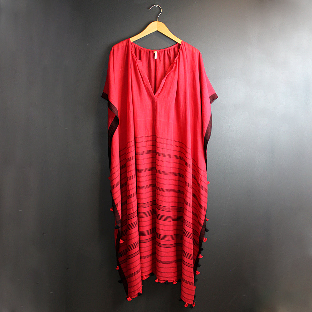 Red Hand-loomed Khadi Caftan