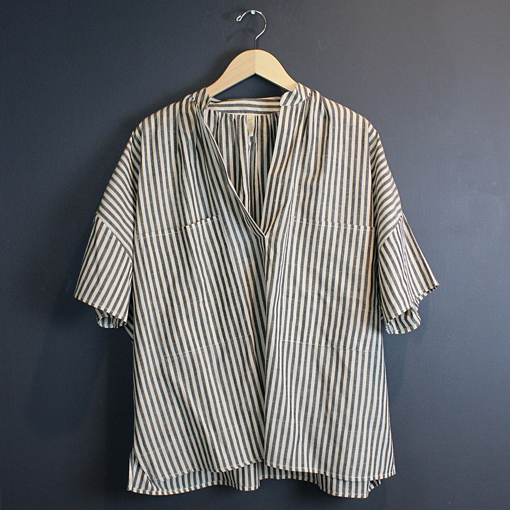 Black + Cream Stripe Shirt