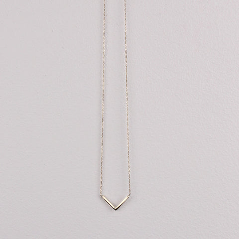 Tiny V Necklace - 14K Gold