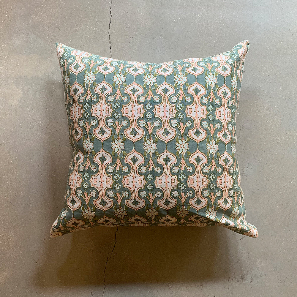 ".Green Hand Block Printed Pillow - 22"" x 22"""