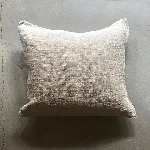 ".Cream Vintage Grain Sack Pillow - 21"" x 19"""
