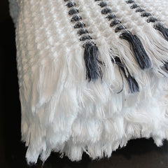 White + Grey Handwoven Cotton Bath Towel