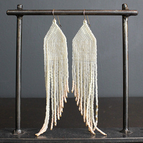 .Cream Hand Beaded Earrings