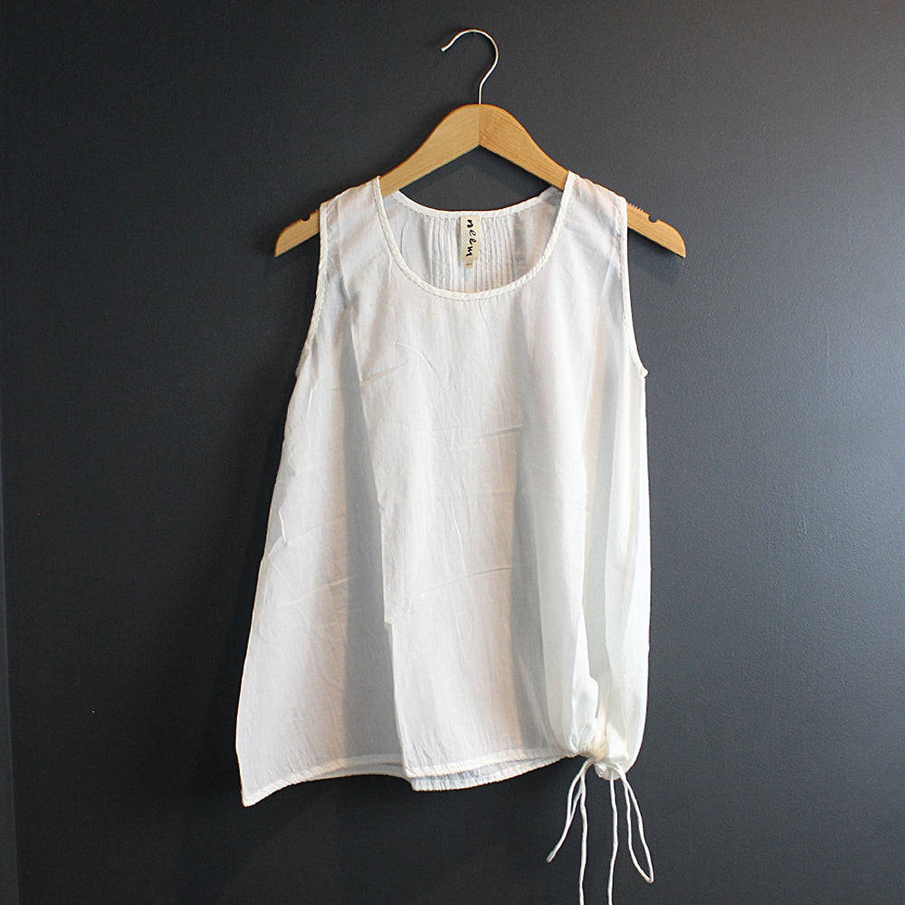 White Cotton Top with Side Tie