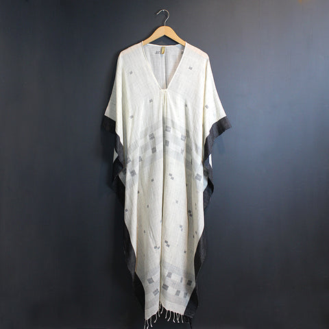 White + Black Cotton Caftan