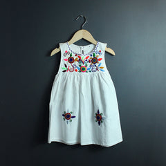 White Embroidered Girls Dress *more colors available*