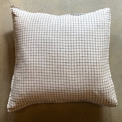"White + Black Checkered Linen Pillow - 26"" x 26"""