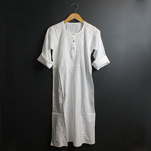White Hand Embroidered Cotton Voile Dress