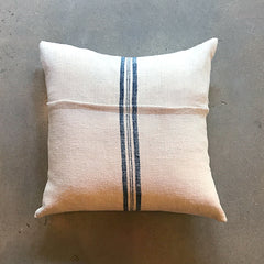 "Cream Vintage Textile Pillow - 19"" x 19"""