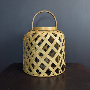 Neutral Woven Rattan Lantern - Short