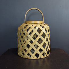.Neutral Woven Rattan Lantern - Short