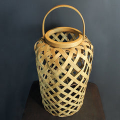 .Neutral Woven Rattan Lantern -Tall