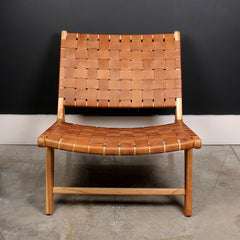 Brown Leather Cross Hatch Chair
