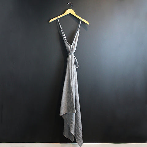 .Grey Cotton Wrap Dress