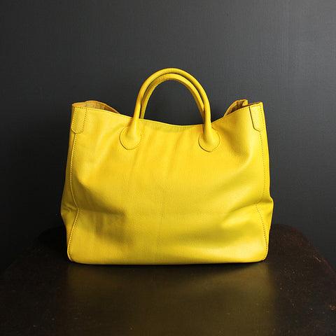 .Yellow Handmade Leather Bag