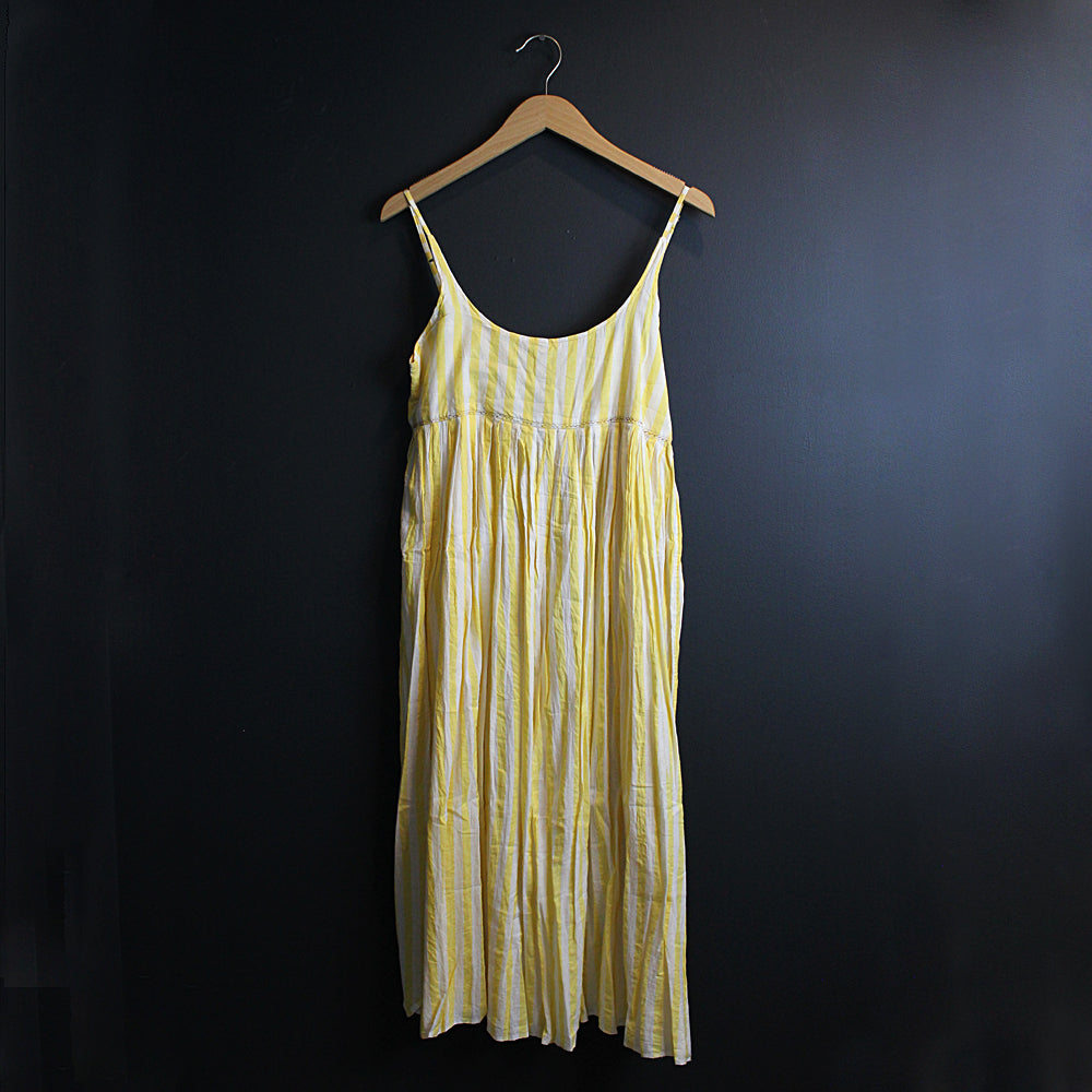 .Yellow + Cream Stripe Cotton Slip Dress