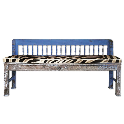.Blue Vintage Bench with Zebra Hide
