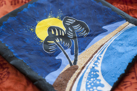 hand painted palm pouch