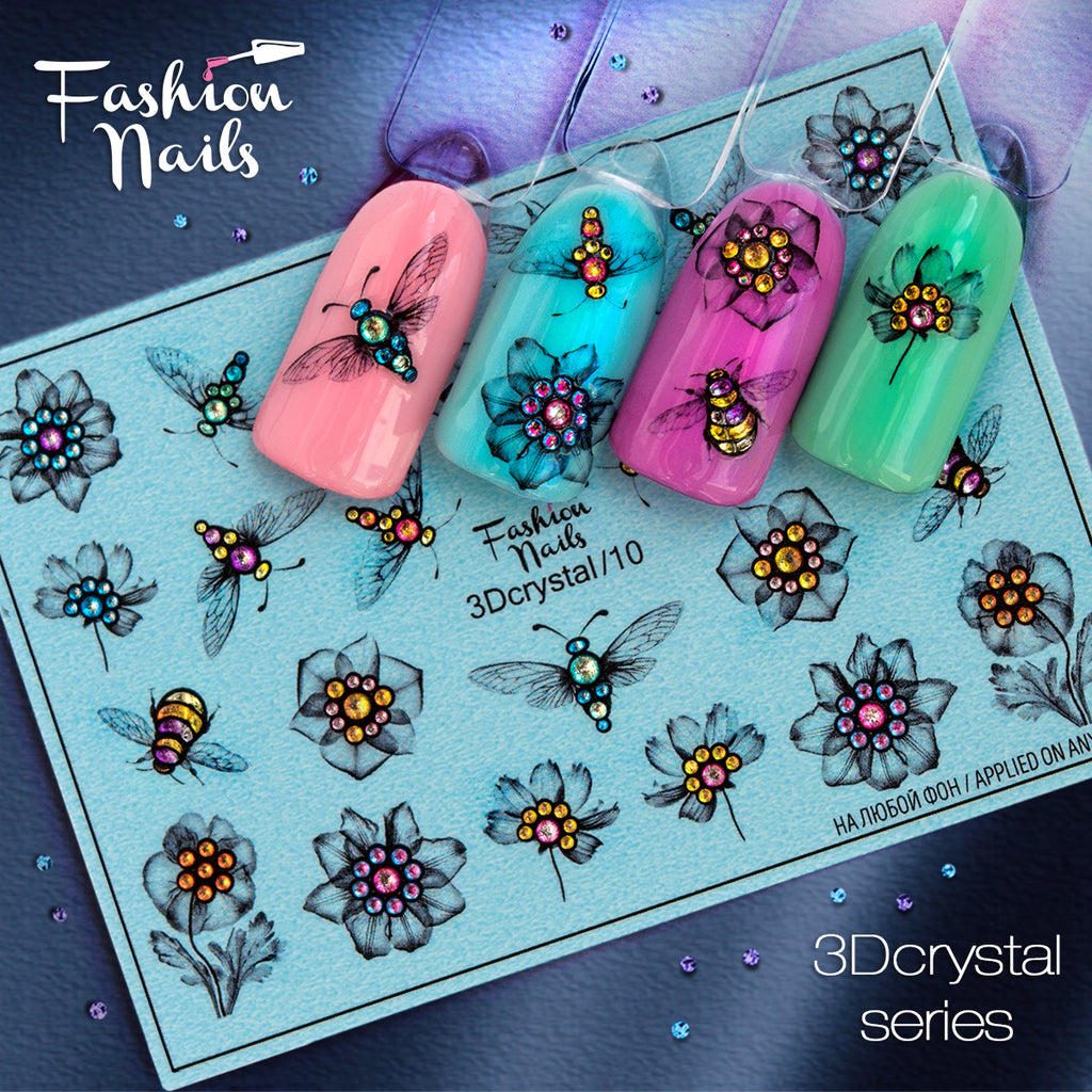 Fashion Nails - 3D Crystal 10 Water Decals