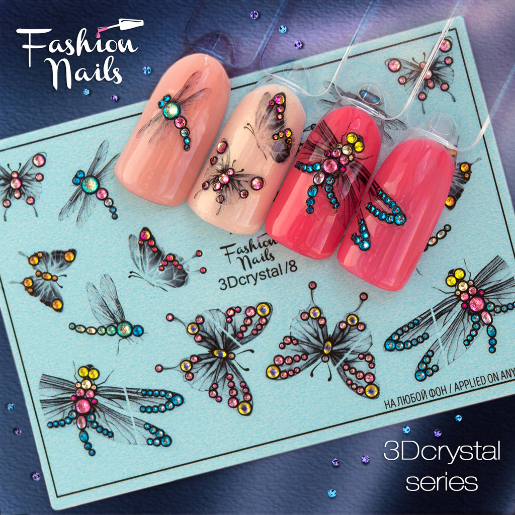Fashion Nails - 3D Crystal 8 Water Decals | Whats Up Nails