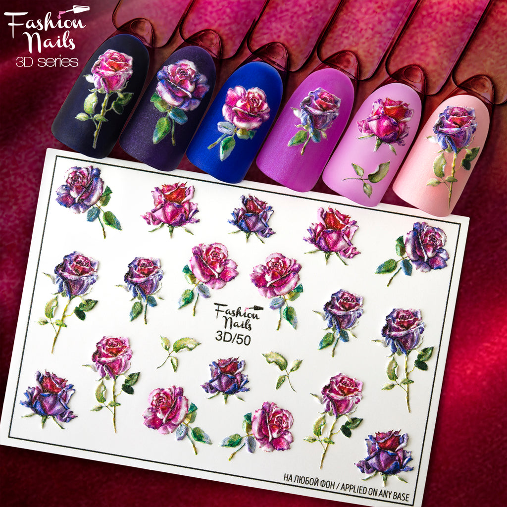 Fashion Nails - 3D 50 Water Decals | Whats Up Nails