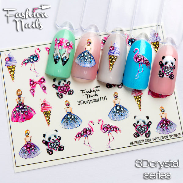 Fashion Nails - 3D Crystal 16 Water Decals