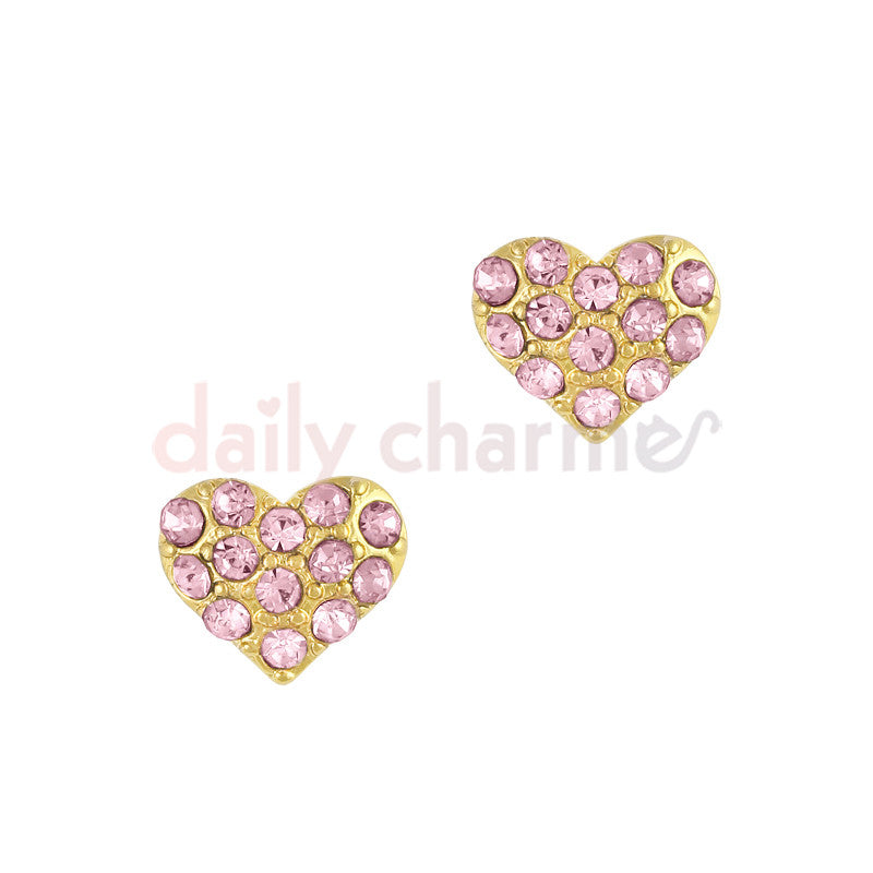 Daily Charme - Crystal Studded Heart / Gold / Pink