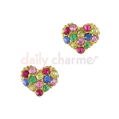 Daily Charme - Colorful Crystal Studded Heart