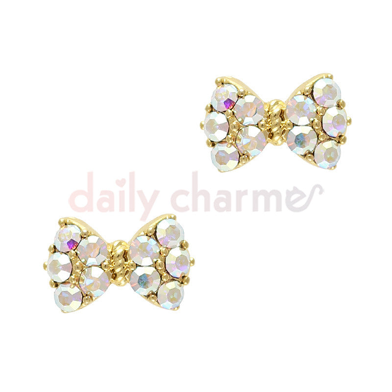 Daily Charme - Princess Bow / Swarovski Charm / Gold / AB Crystal