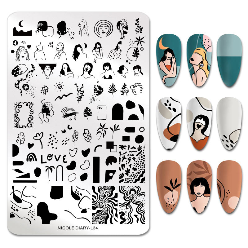 Nicole Diary - L34 Artistic Beauties Stamping Plate