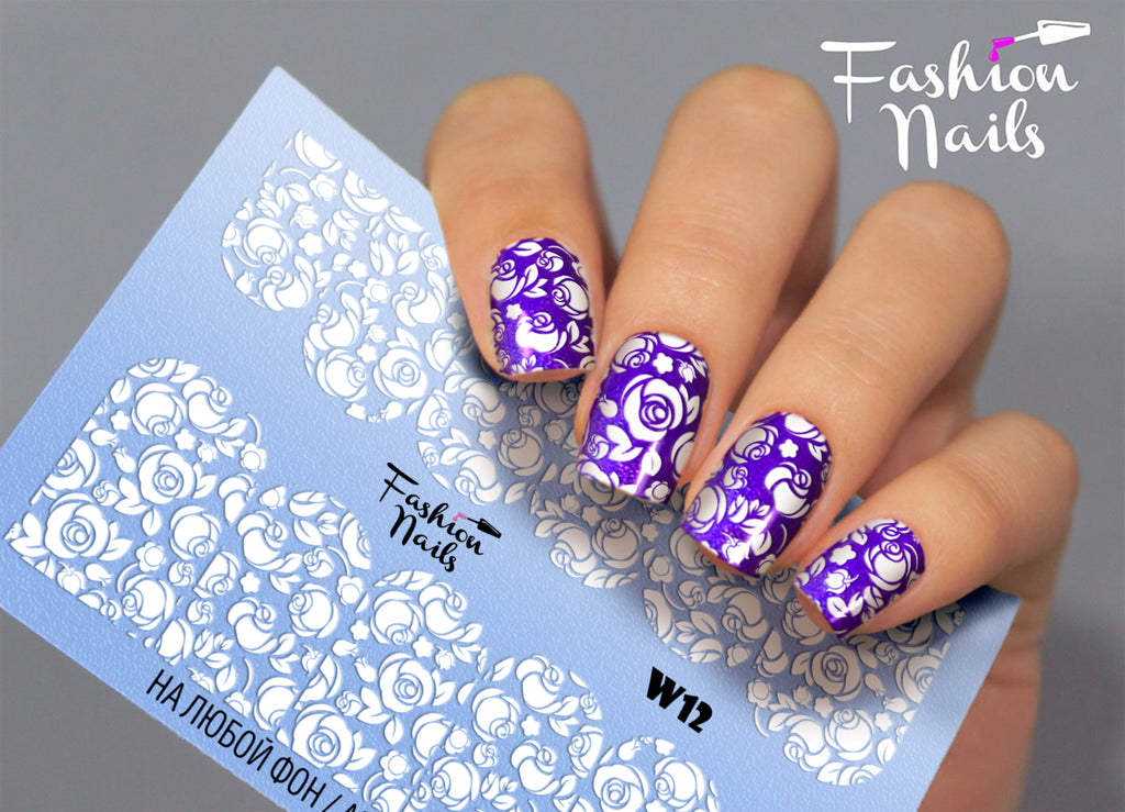 Fashion Nails - White 12 Water Decals