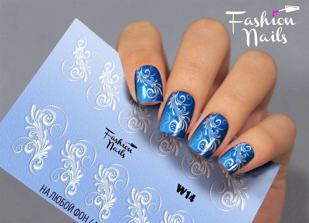 Fashion Nails - White 14 Water Decals
