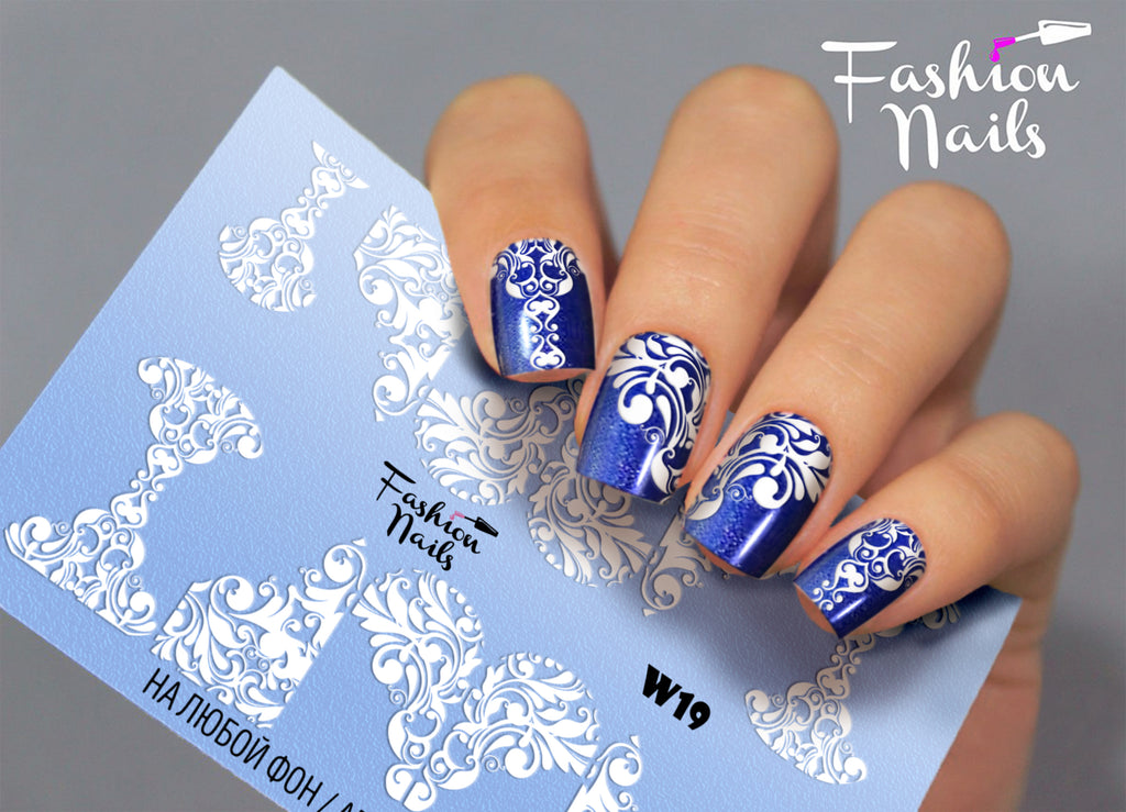 Fashion Nails - White 19 Water Decals