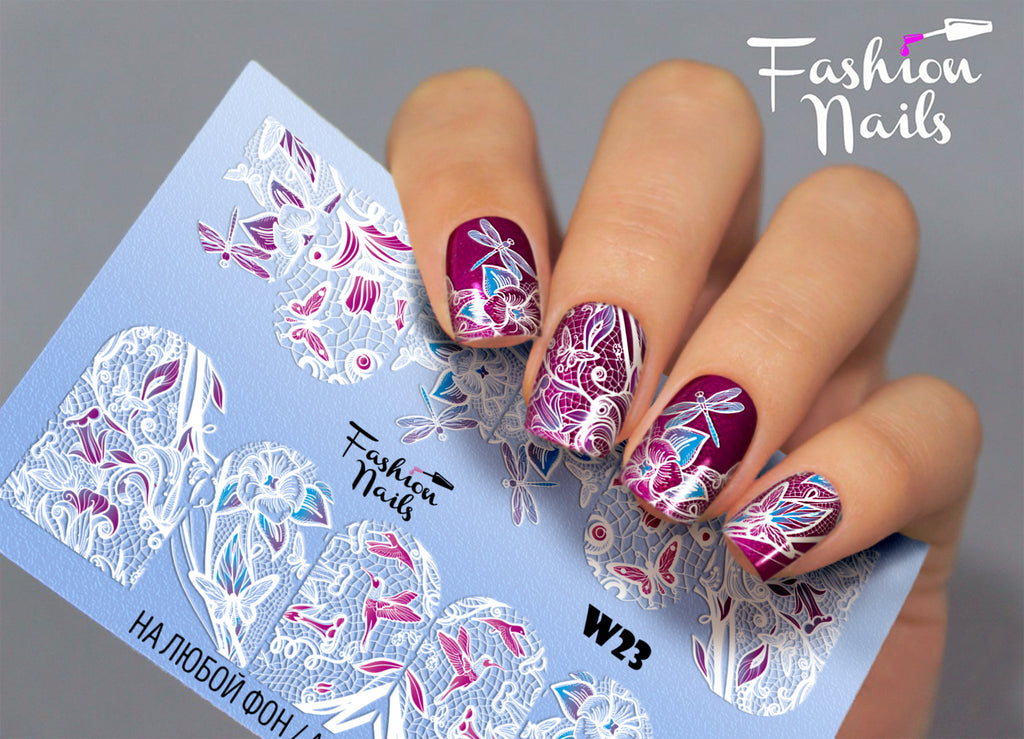 Fashion Nails - White 23 Water Decals