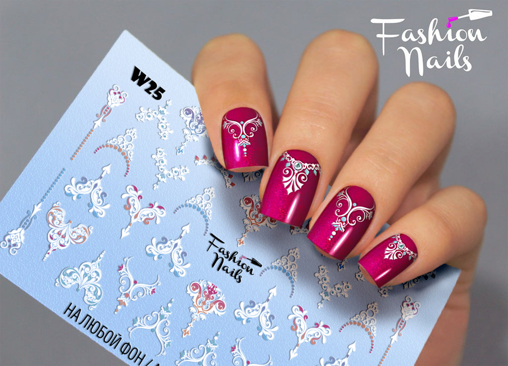 Fashion Nails - White 25 Water Decals