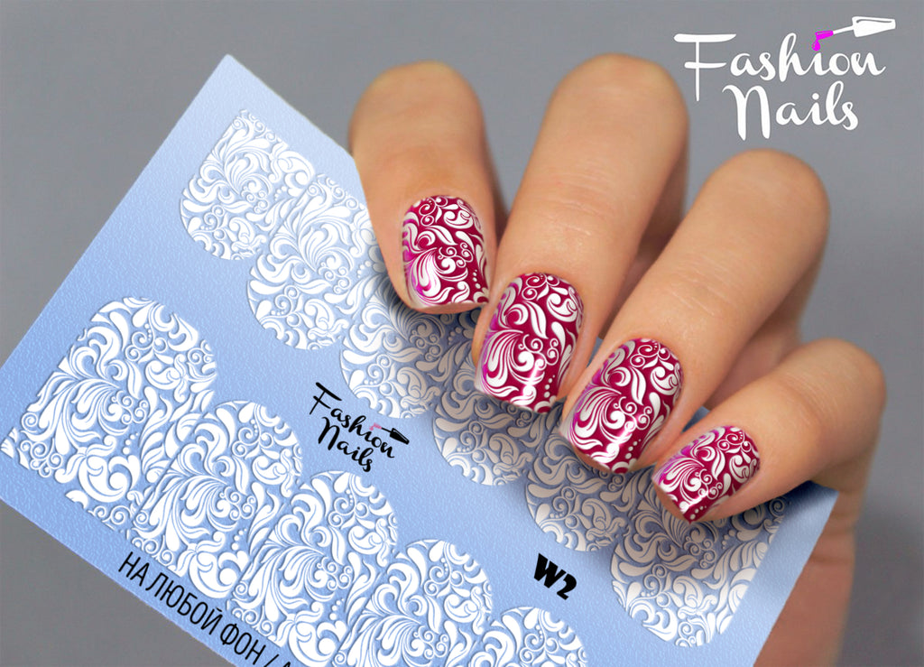 Fashion Nails - White 02 Water Decals