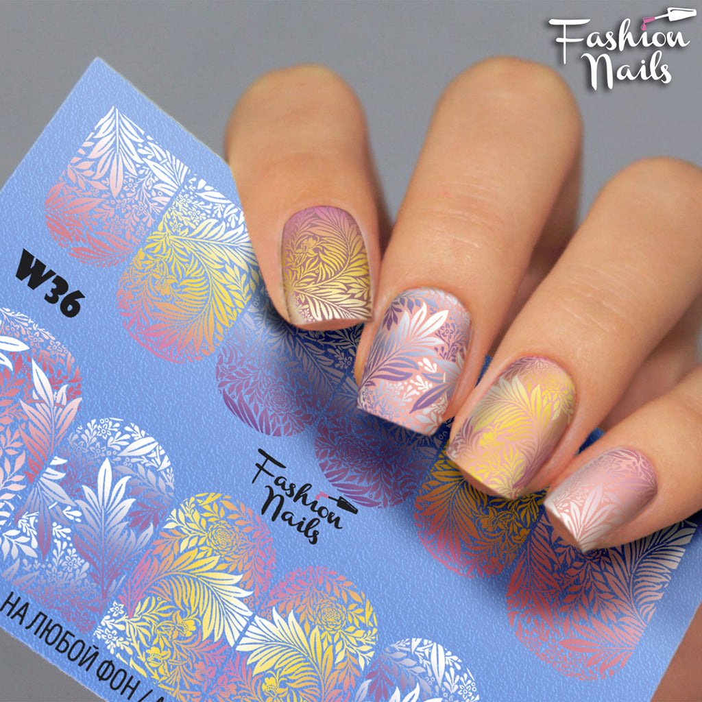 Fashion Nails - White 36 Water Decals