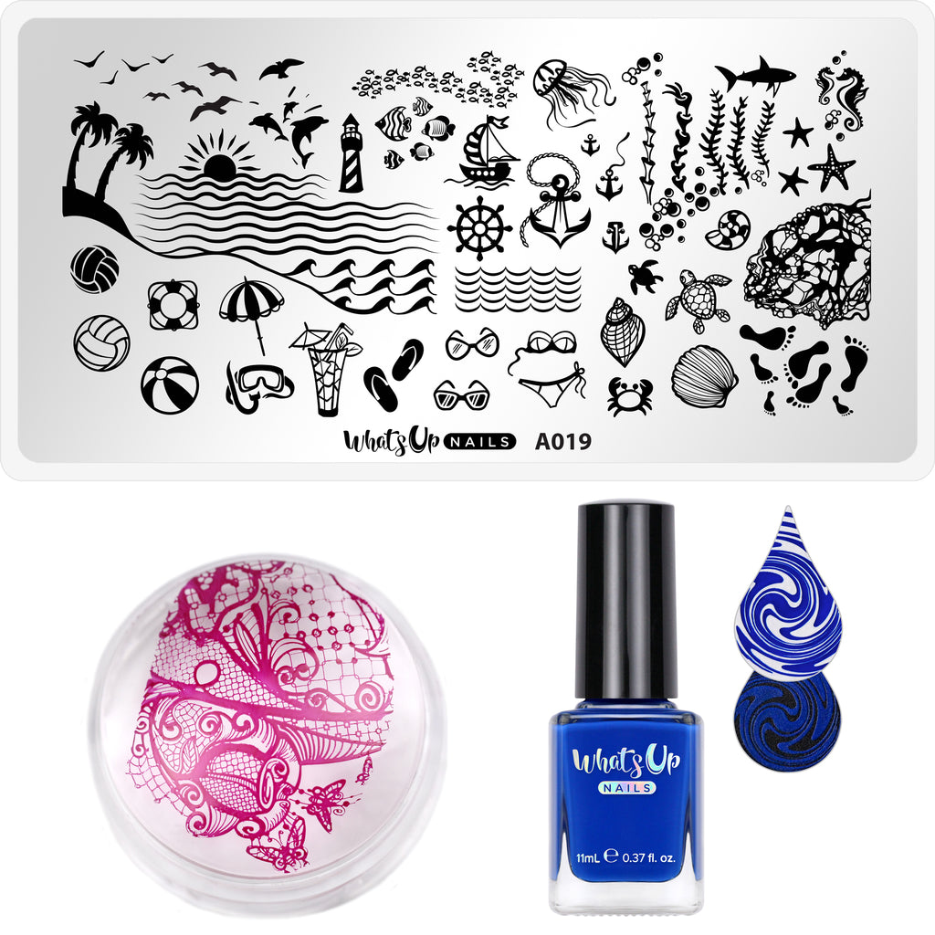 Whats Up Nails - Stamping Starter Kit (A019, Jay For a Day, Magnified Stamper)